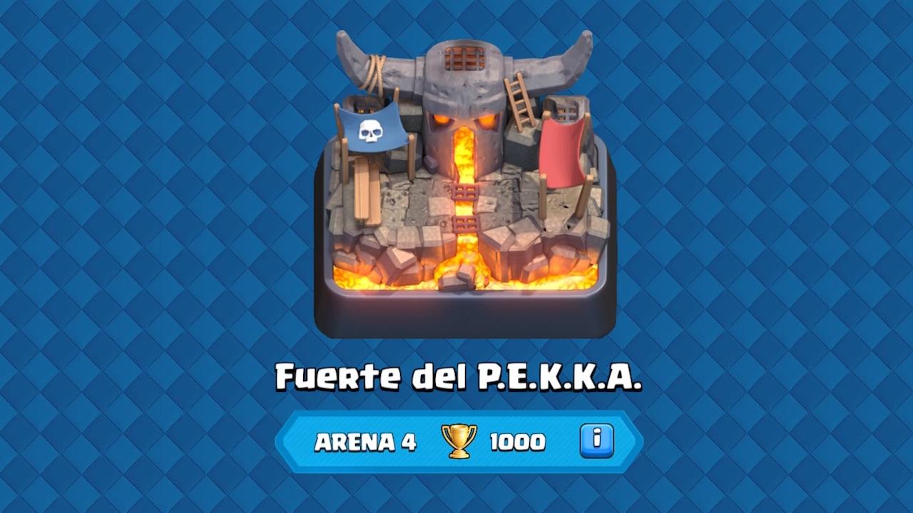 clash royale arena 4 fuerte del pekka