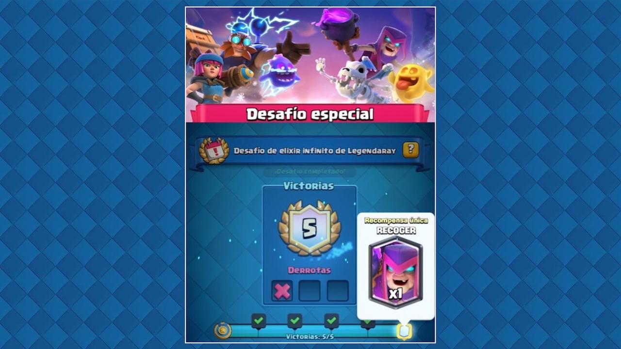 clash royale desafio especial elixir infinito de legendaray